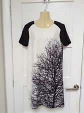 BNWT Great Plains Mono Oak Tree Print Shift Dress XS Size 8 RRP £60