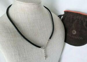 """John Hardy Kali Sterling Silver 4mm Black Leather Necklace - 20"""" length - Mint!"""