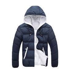 Mens Overcoat Winter Warm Outwear Hooded Jacket Parka Slim Hoodie Thick Coat Red 3xl