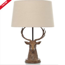 Stag Head Table Lamp Cream Shade Bronze Effect Traditional Bedroom Light Vintage