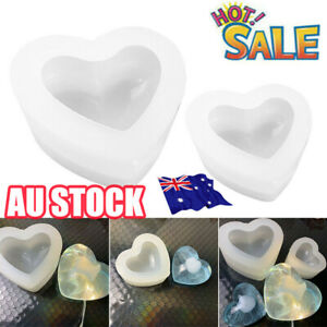 Silicone 3D Love Heart Mold Aroma Gypsum Mould Epoxy Resin Molds Jewelry Tool HG