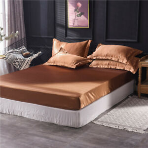 Ice Silk Fitted Sheet Extra Deep Pocket King Flat Sheet 39-80'' for Adults Teens