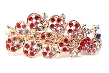 2 pieces small Barrette red Rhinestones Crystal Metal peacock hair claws clip