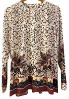 NWT New Ann Taylor LOFT Womens Floral Long Sleeve Tunic Shirt Top size Small