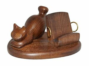 Difficult Hand Carved Universal wooden stand For cellphone Animals Holder ~ Cat
