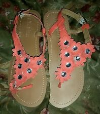 Olivia Miller Coral Pink Flat Strappy Sandals W/ Flowers and Rhinestones