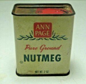 Vintage Ann Page Pure Ground Nutmeg 2 OZ Tin 1A30
