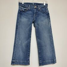 7 For All Mankind Crop Dojo Distressed Denim Blue Capri Jeans Size 25 Meas 28x20