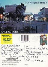 1994 THE PONY EXPRESS STATUE SACRAMENTO CALIFORNIA UNITED STATES COLOUR POSTCARD