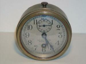 Amazing Antique CHELSEA SHIP'S CLOCK Alarm Clock Size, Key Wind, Second Dial