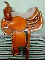 Western show saddle 16'' on eco-leather buffalo chestnut on drum dye finish
