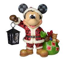 Jim Shore Disney Christmas Santa Mickey w/Lantern & Bag of Toys Figurine 4029584