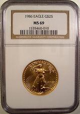 1986 $25 GOLD EAGLE COIN BULLION NGC MS 69 LQQK RARE 1/2 OZ. FINE GOLD