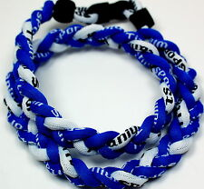 """PACK OF TWO LARGE! 24"""" 3 Rope Titanium Sport Necklaces Royal Blue White Tornado"""
