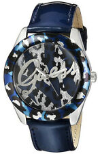 GUESS FASHION BLUE WITH LOGO DIAL BLUE LEATHER STRAP LADIES WATCH U0455L1 NEW