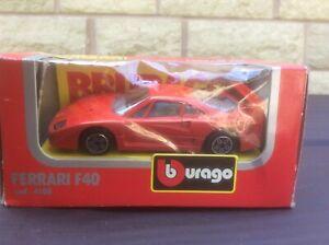 FERRARI F40 ROAD CAR RED (WITH GREY/SILVER INTERIOR) 1:43 BURAGO MODEL *BOXED*