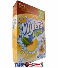 Wylers Light Peach Iced Tea Singles To Go Soft Drink Mix 13.4g - 8 Sachet Box