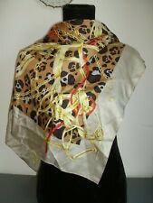 LEOPARD SKIN PATTERNED EXTRA LARGE SCARF WITH GOLD HORSE TACKLE