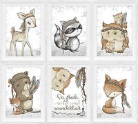 A4| Kinderzimmerbilder Babyzimmer Deko Kinder - Zimmer Bild Waldtiere Tiere |S50