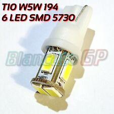 Lampada per luci di posizione interno targa 6 LED SMD T10 W5W w2.1x9.5d 6000K