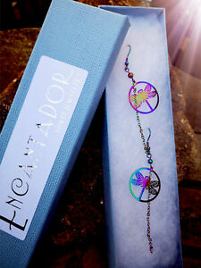 Stainless Steel Multi Rainbow colour Dragonfly long Earrings