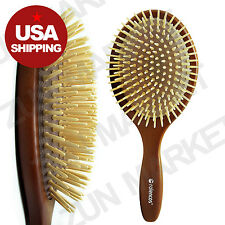 Rolencos All Natural Wooden Bristle Detangling Hair Brush Large (US Shipping)
