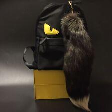 Black /Gray /White Fox Tail Key Chain Fur Tassel Tag Bag Charm Key Ring Pendant