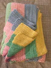 Hand Crochet Pink Yellow Green Blue Knit Afghan Blanket Throw Baby nursery 61x44