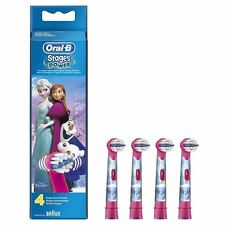 4 Oral-B Stages Kid Disney Frozen Replacement Heads Children Electric Toothbrush