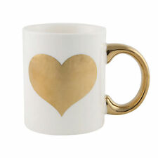 SASS and BELLE | Metallic Monochrome Gold HEART | Tea Coffee MUG | Ceramic MUGS