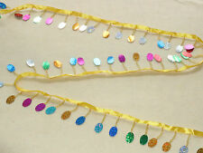 "2"" Craft Gold Flash Belt Beads Tassels Costumes Dance Accessories 5Yards Trim"