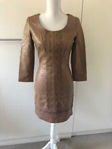 Alice By Temperley Beige Leather Mini Dress Size US4
