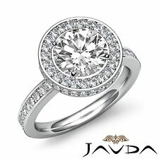 Gia G Vs2 18k White Gold 2.3ct Round Cut Diamond Halo Pave Set Engagement Ring