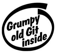 GRUMPY OLD GIT INSIDE Funny Caravan Swift Bailey Novelty Vinyl Decal Sticker
