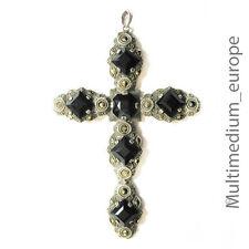 Großes Art Deco Silber Kreuz Anhänger Markasit schwarz silver cross Onyx Paste