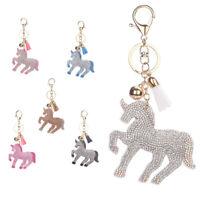 Lucky Crystal Unicorn Horse Keychain Handbag Charm Pendant Key Ring With Tassel