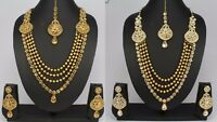 Ethnic Indian Fashion Jewelry Wedding  kundan Long Necklace  Earring Set Women