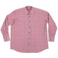 Luchiano Visconti Uomo Pink Striped Floral Button Up Shirt Sz 2XL Mercerized