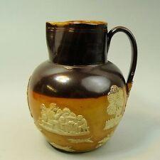 ANTIQUE VICTORIAN ROYAL DOULTON HARVEST WARE POTTERY SALT GLAZED JUG C.1890