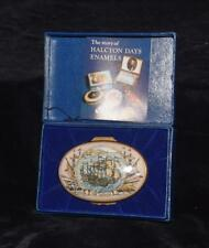 Rare Halcyon Days / Bilston Battersea- The Armada - Maritime England Trinket Box