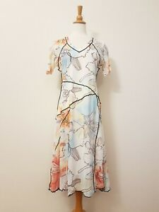 David & Jessie Womens Jersy Dress, Abstract Floral Printed, Stretch Size 10 New
