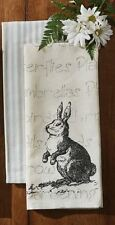 """Set (2) Printed Rabbit & Blue Ticking Country Cotton Kitchen Dish Towels 18""""x28"""""""