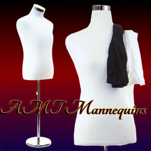 Male half body mannequin dress form+ stand,+2 jerseys, white/black torso-HPB-102