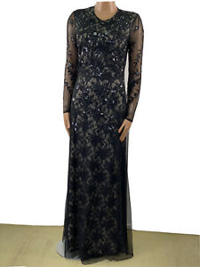FROCK AND FRILL Black Heavy Beaded Maxi Gown 12 Gatsby Art Deco