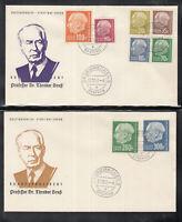 SAAR SAARLAND of 4 beautiful Cover FDC 1957 - Theodor Heuss