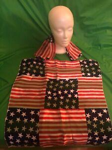 2 Mens Patriotic Handkerchief and Rhinestone Flag Lapel pin