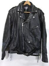 DIAMOND PLATE Buffalo Leather HEAVY Motorcycle Jacket Black XL ex condition