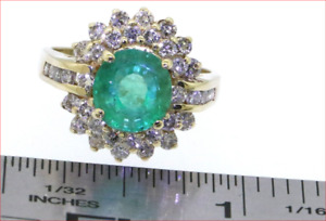 2.08ctw Emerald & Diamond 14K Yellow Gold Engagement or Cocktail Ring $3135 GIA
