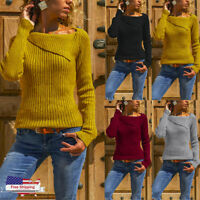 Women Autumn Winter Long Sleeve Solid Strips Sweater Pullover Blouse Shirt Tops