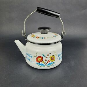 Vintage Berggren Enamel Swedish Tea Pot Teapot Coffee Pot Rosemalling Sweden